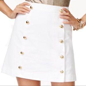 Michael Kors skirt white denim gold buttons
